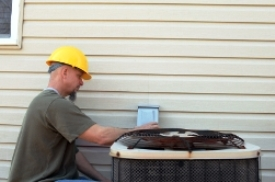 Albertville Alabama Heating and Cooling Tech servicing A/C condenser